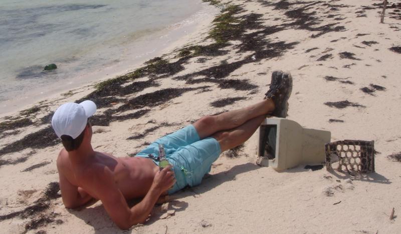 Computer on Man Island Bahamas