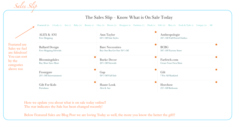 Sales Slip - What is On Sale Today Online