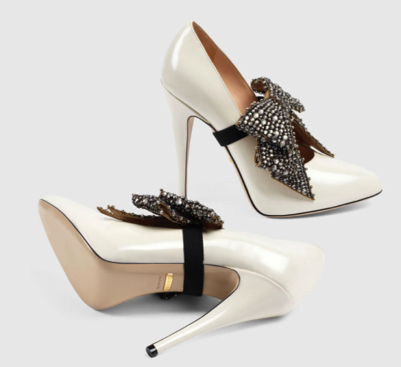 Gucci white heels with bow