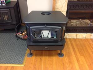 A black portable fireplace