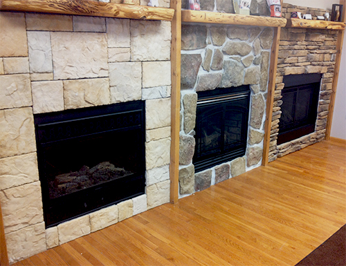 Three fireplaces with different stone designs