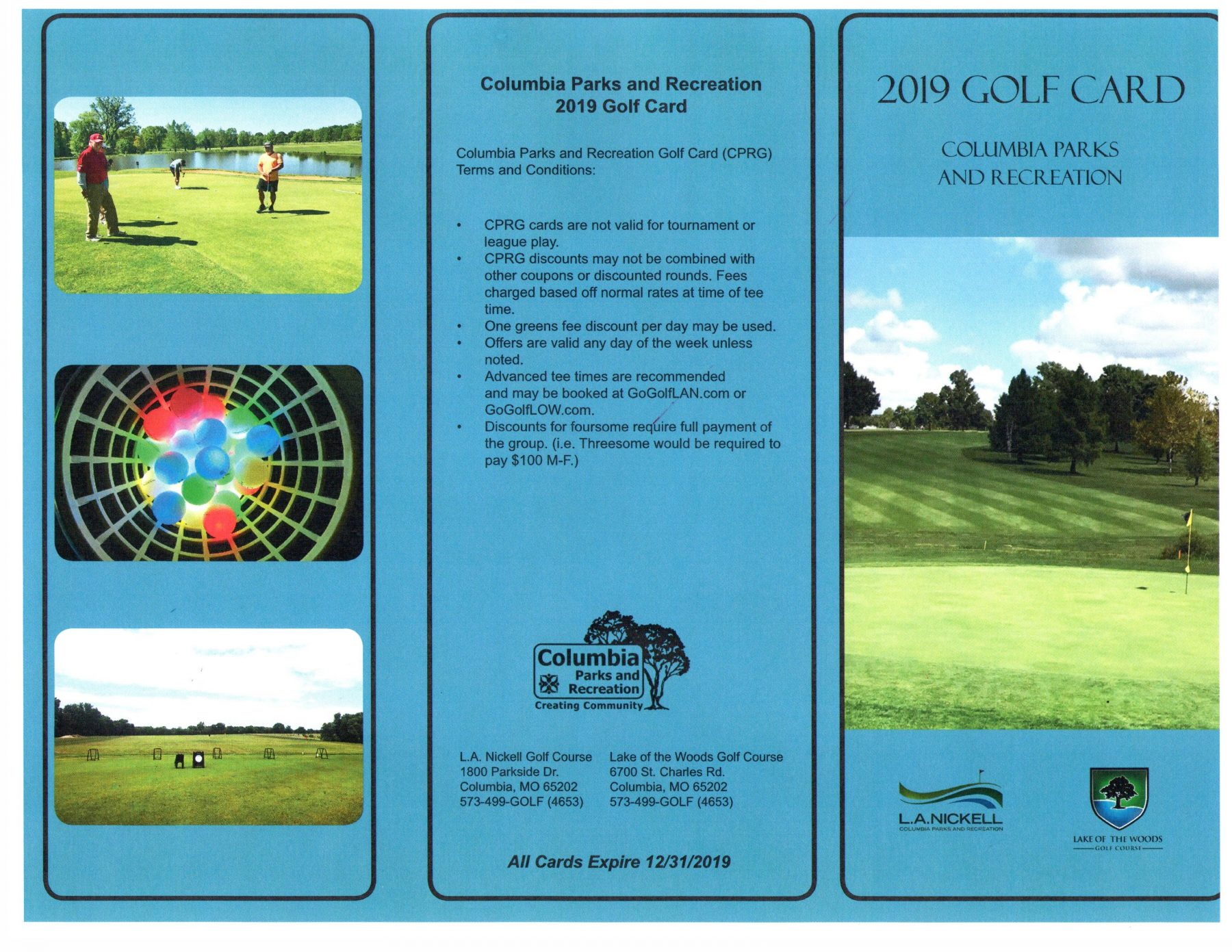 2019 COLUMBIA PARKS AND RECREATION GOLF CARD FRONT AND BACK