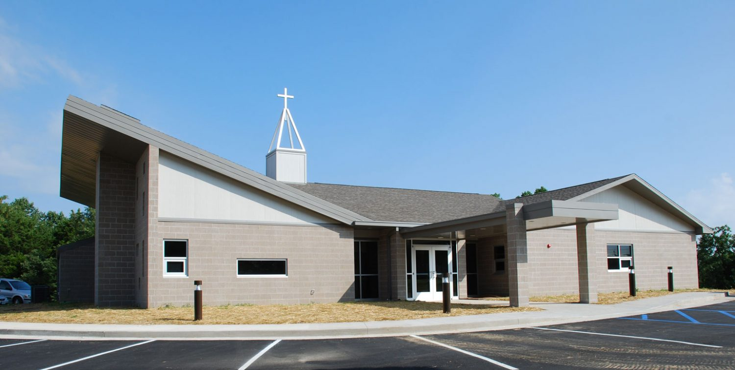Exterior of a church from a commercial construction project