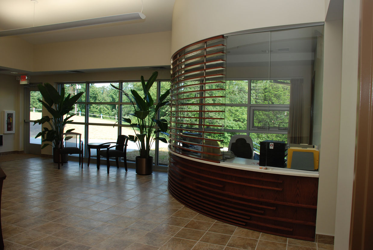 Desk and entryway from a commercial construction project