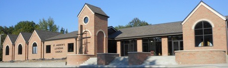 The outside of a finished church constructed by Huebert Builders