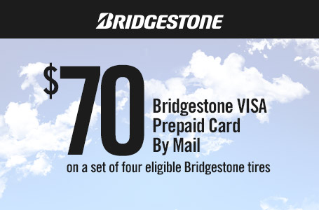 Coupon for a $70 VISA prepaid card by mail on a set of four eligible Bridgestone tires