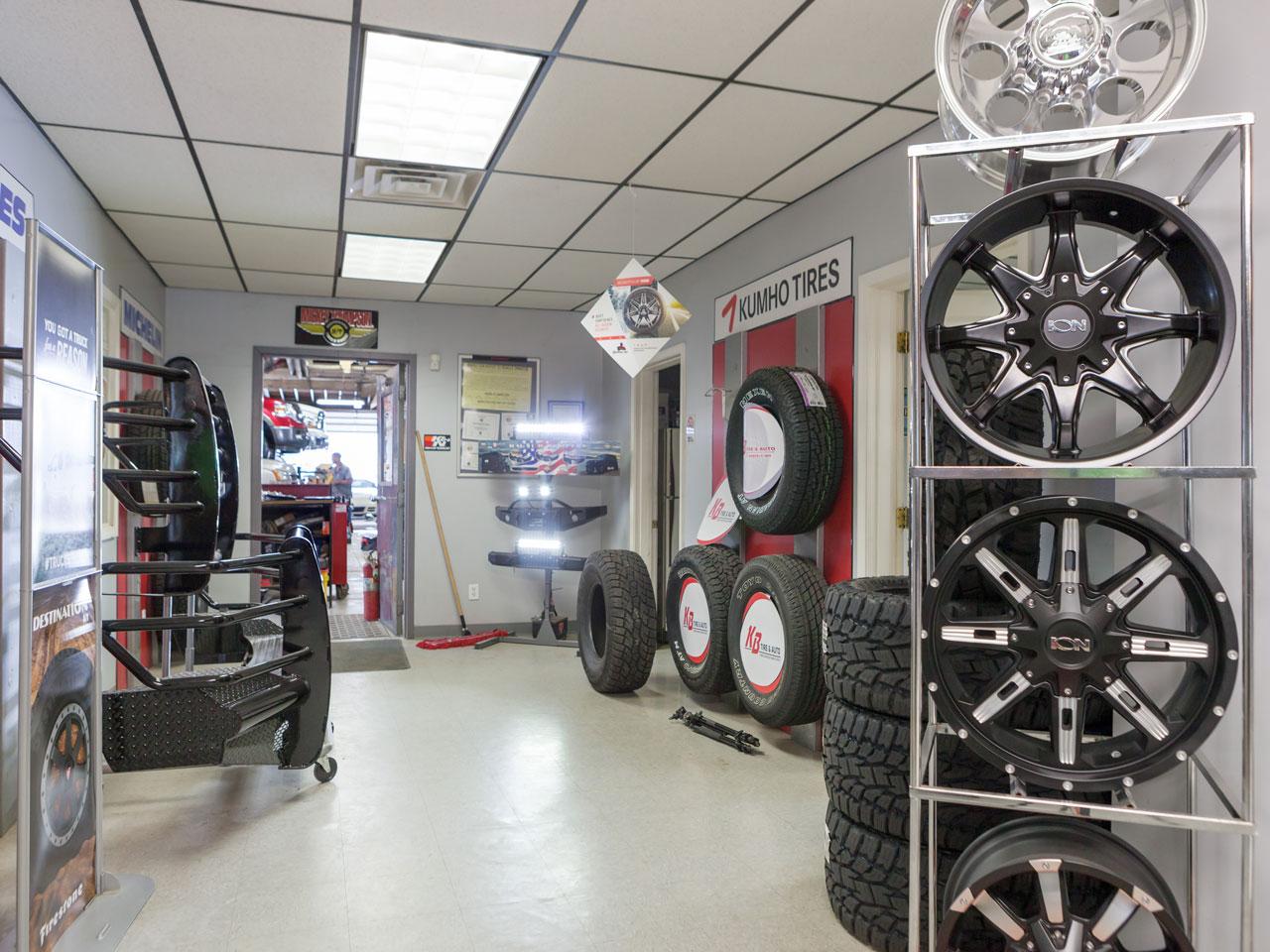 Tire display inside KB Tire & Auto