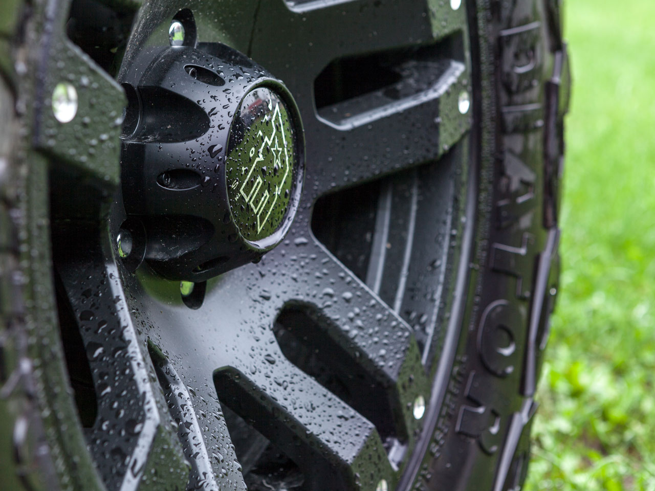 Close up of a wet tire