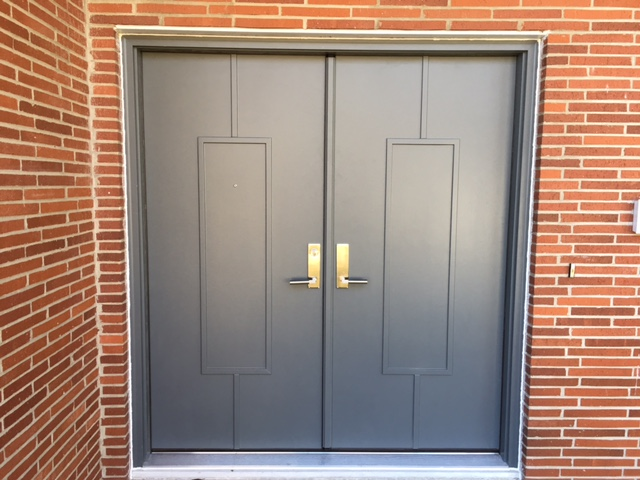 Grey double doors installed by TrueSon Exteriors