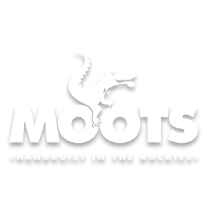 Moots Handbuilt In The Rockies white brand logo image