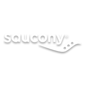 Saucony brand logo in white, running shoe brand