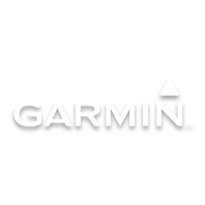 Garmin athletic brand logo in white