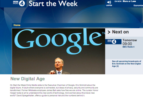 BBC Radio 4 - Start the Week, New Digital Age