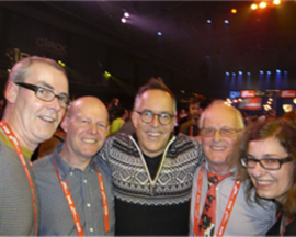 Andy, Steve the farmer, John Cooper (Sundance Festival director), Phil (Steve's dad) and Heike Bachelier (co-director of The Moo Man)