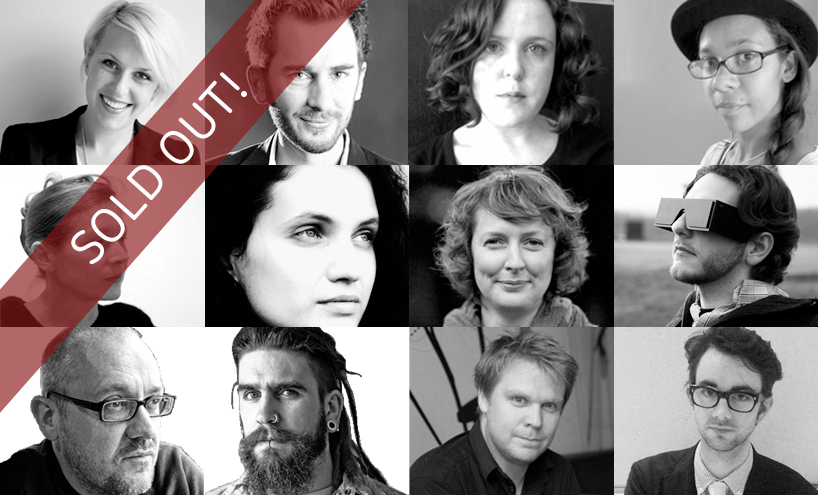 This year's speakers, top row: Alexandra Daisy Ginsberg, Frank Swain, Georgina Voss, Farida Vis. Middle row: Keller Easterling, Maja Kuzmanovic, Paula Le Dieu, Justin Pickard. Bottom row: Simon Ings, Paul Graham Raven, Timo Arnall, Tobias Revell