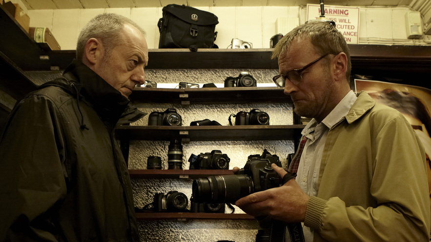 SLR - Elliot (Liam Cunningham) talks to Verma (Richard Dormer), photo by Aidan Monaghan