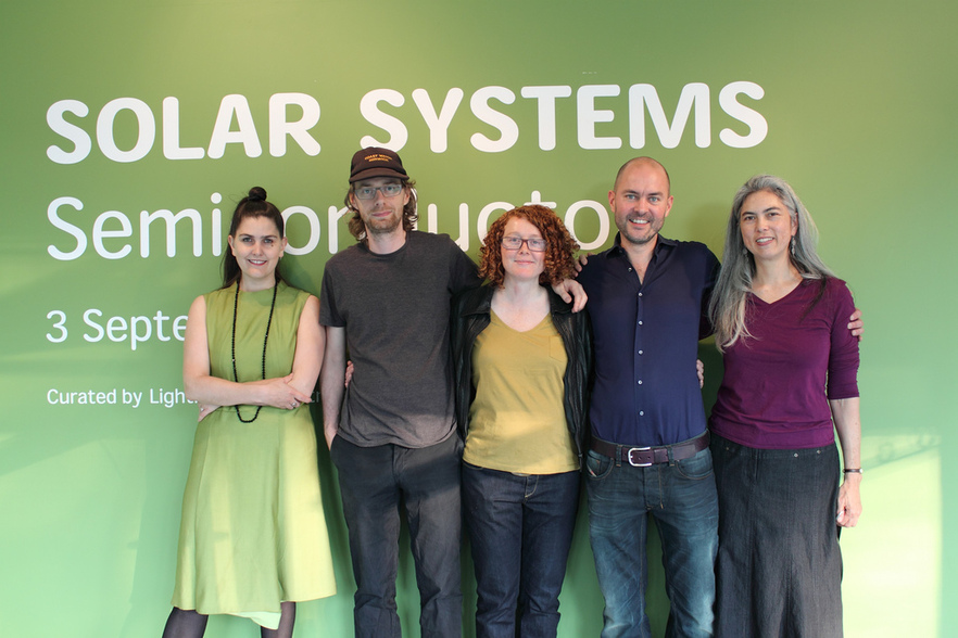 Honor Harger (left) with Semiconductor at the launch of Solar Systems, 31st August 2011