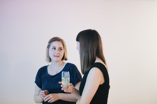 Coralie Gourguechon (left) with Helen Jack at the Lighthouse Studio launch. Photo by Roberta Mataityte.