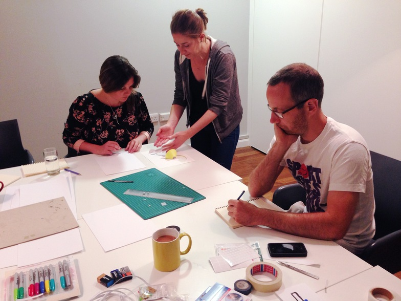 Emma Wickham (left) get to grips with circuitry, under the supervision of Lighthouse Studio resident Coralie Gourguechon.