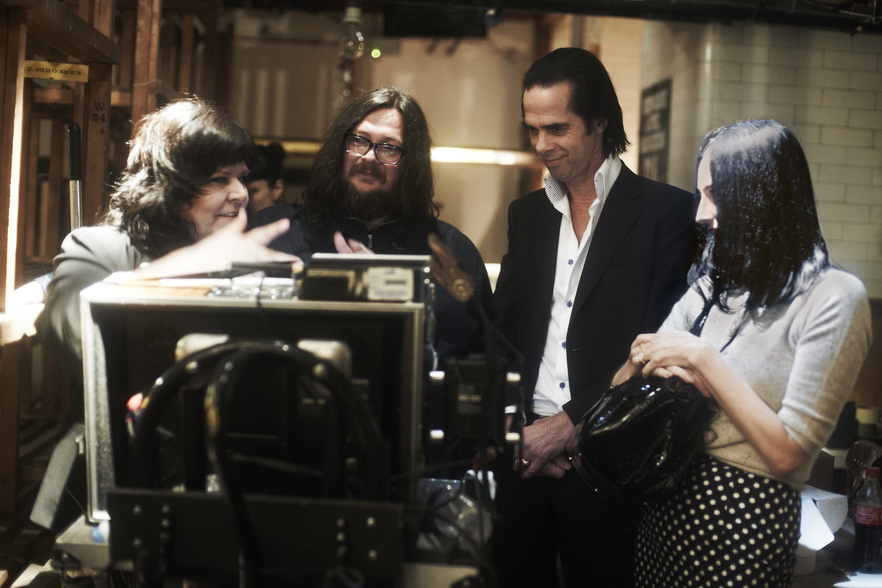 reFRAMED speakers Jane Pollard and Iain Forsyth with Nick Cave on the set of 20,000 Days On Earth