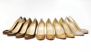 A range of Christian Louboutin shoes challenge traditional concepts of 'nude'. Image courtesy of the Victoria & Albert Museum.