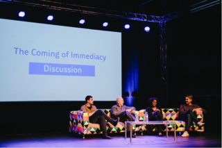 The Coming of Immediacy - discussion with Nathan Jurgenson, John Armitage,  Nadia El-Iman and host Juha van 't Zelfde. Photo by Roberta Mataityte