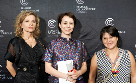 Gaëlle Denis collecting the Canal+ prize at the prestigious 53rd Semaine de la Critique for her BFI short 'Crocodile'.