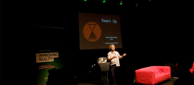 Tim Boykett of Time's Up speaking at the Improving Reality Conference. Photograph by Roberta Mataityte