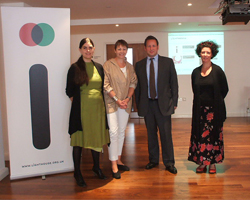 Honor Harger, Caroline Lucas, Ed Vaizey and Paula Murray during a visit to Lighthouse
