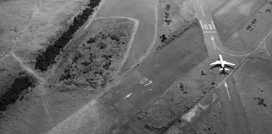 Joseph Popper's model airfield, used to create aerial footage