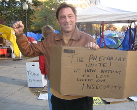 Guy Standing taking up the cause at Occupy Washington DC in 20111