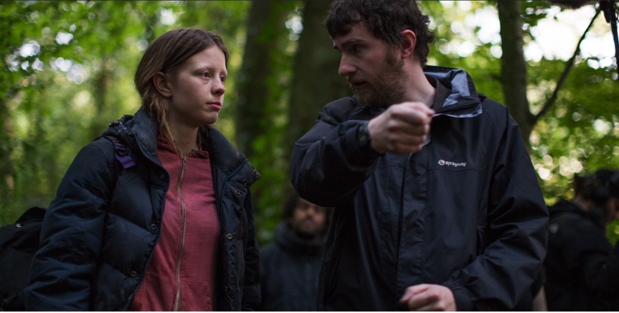 Stephen Fingleton on the set of The Survivalist