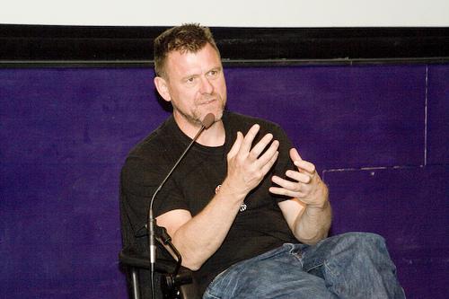 Andrew Kötting - screen and talk at the University of Brighton, 1 December, 2011 Photograph: Kötting speaking at Lovebytes Festival in 2007. © Lovebytes.