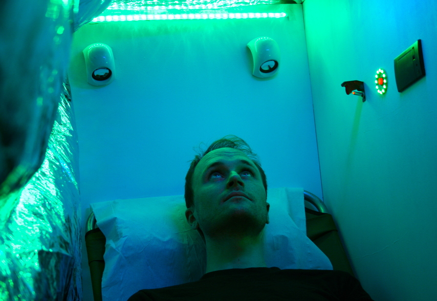 Getting a treatment in the M.O.R.T.Y rejuvenation tent