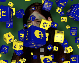 'Euro dice' fall in Metahaven's playful aesthetic narrative. The Sprawl, 2015, still.
