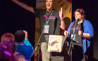 Guiding Lights mentees Matthew Hellett and Becky Bruzas at Oska Bright  Film Festival. Photo Paul Mansfield