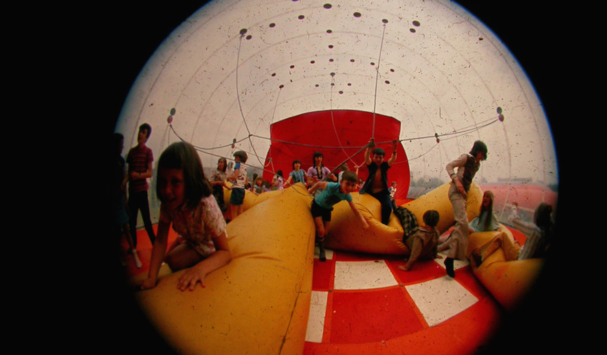 Inside an Action Space inflatable