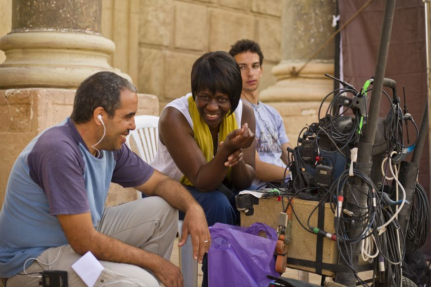 Judi Lee-Headman on set in Morocco