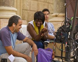 Judi Lee-Headman on set in Marocco