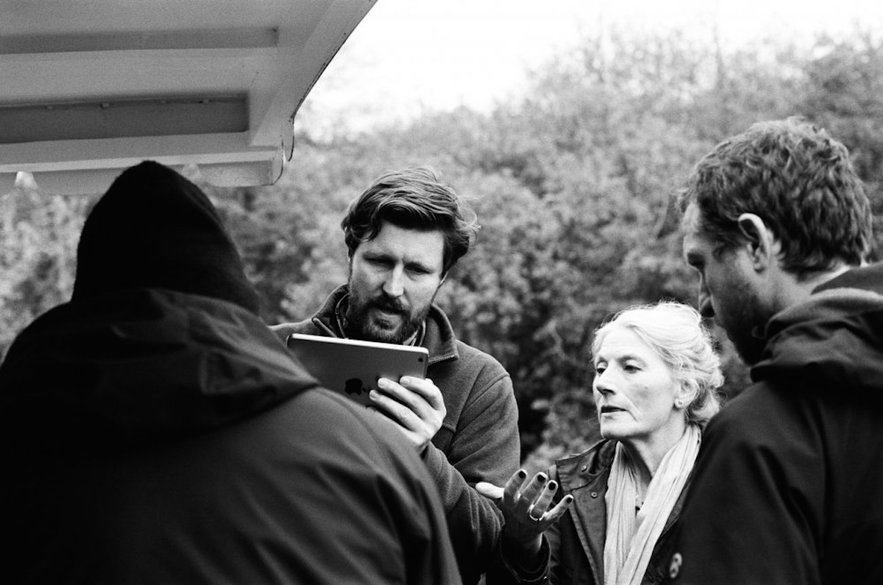Andrew Haigh, Geraldine James and crew in between scenes on '45 Years'. Photo: Agatha A. Nitecka