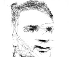 Portrait of Alan Turing by Paul the Robot, built by artist Patrick Tresset.