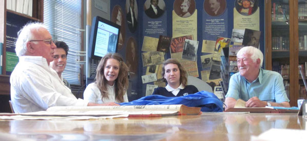 Students from Longhill School researching local history with older residents of Brighton and Hove