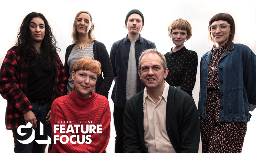 Guiding Lights: Feature Focus mentees. Back (L to R): Rubika Shah, Corinna Faith, Nick Rowland, Rose Glass, Isobel Pietsch. Front (L to R) Marie Lidén and Chris Shepherd. Photo by Xavier Clarke.