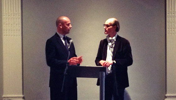 Godfrey Worsdale, chair of the Turning Point Network, debates with Will Gompertz at the first day of Turning Point National Summit, 9 May 2012