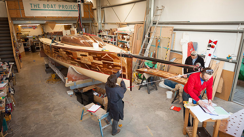 The Boat Project by Lone Twin arrives in Brighton on 19 May.  Pictured in the boat shed at Thornham Marina.