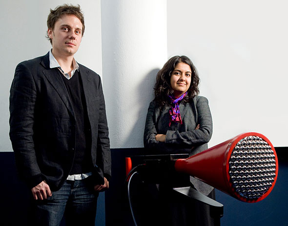 Anab Jain - speaker at Improving Reality - pictured with Jon Ardern and the 5th Dimensional Camera by Superflux, which translates the Many Worlds theory of quantum mechanics into a prototype.