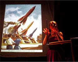 Sarah playing the Theramin (c) Melita Dennett