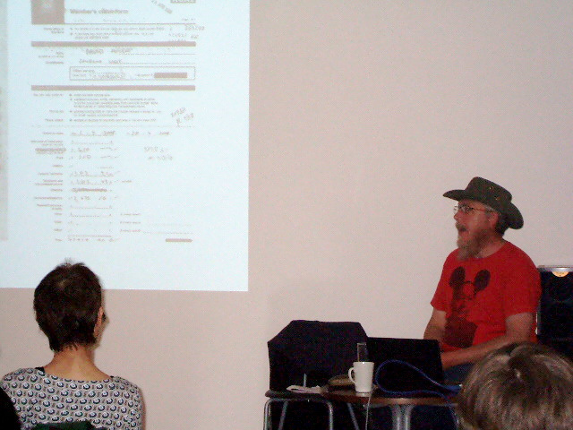 Graham Harwood speaking at Lighthouse, August 2011