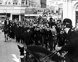 The National Front march through Brighton, Castle Square, Brighton 1981.  The Argus.