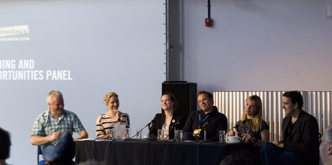 Funding & Opportunities Panel at Encounters, 19 September 2012. With Lighthouse's Emily Kyriakides (second from right), Chris Moll, Chris Collins, Will Massa, Wendy Bevan-Mogg, and Susie Wright. Photo: © Tanya Moulson - tanyamoulson.com